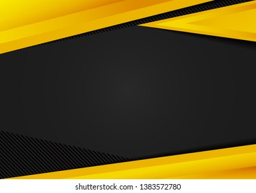 Abstract template yellow geometric triangles contrast black background. You can use for corporate design, cover brochure, book, banner web, advertising, poster, leaflet, flyer. Vector illustration