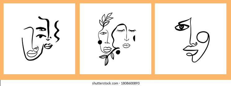 Abstract templates with one line face portrait. Cubism face. Design promotion.