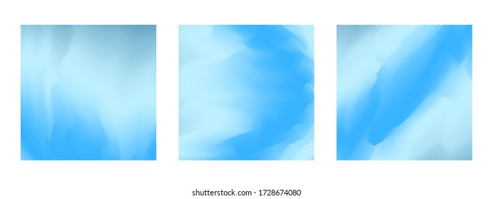 Abstract tender blue vibrant gradient colors square backgrounds for fashion flyer, brochure design. Set of soft, bright light sky turquoise wallpaper for mobile apps, ui design, banner, poster