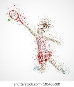 Abstract tennis player, kick the ball. Eps 10