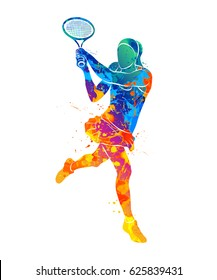 Abstract tennis player with a racket from splash of watercolors. Vector illustration of paints.
