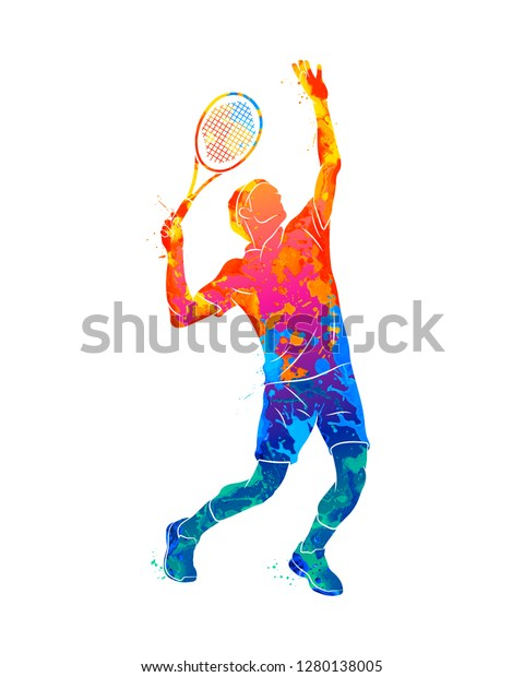 Abstract tennis player with a racket from splash of watercolors. Vector illustration of paints