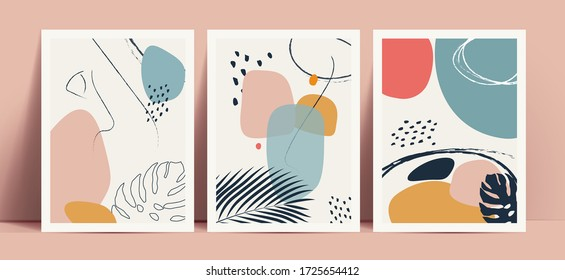 Abstract terrazzo style background set with pastel color hand drawn geometric shapes and lines and tropical leaves silhouettes. Works for decor wall prints or book cover or flyer or menu design.