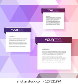 Abstract text boxes design vector with colorful triangles background