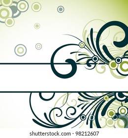 an abstract text frame with floral design in green