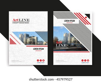 Abstract text frame surface. White, red a4 brochure cover design. Urban city view title sheet model. Creative vector front page. Ad banner form texture. House figure icon. Flyer fiber font. Art line