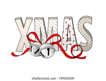 abstract text XMAS with jingle bells isolated on white background, holiday theme, vector illustration, eps 10