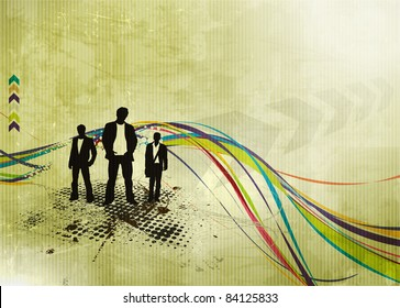 Abstract texture background with standing businessman . Vector illustration.
