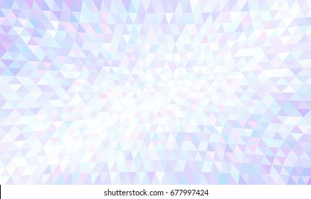 Abstract texture of precious crystal triangles. Concave triangular mosaic pattern. Luxury geometric wallpaper with iridescent tints of blue, violet, lilac, pink and white. Useful like a jewelry theme.
