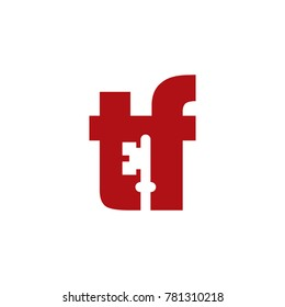 Abstract TF Initials Logo with negative space key inside