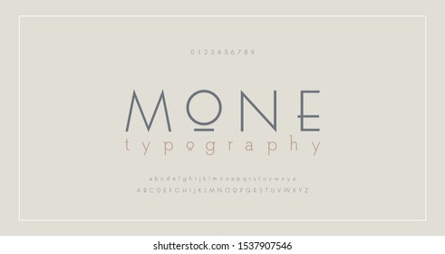 Abstract thin line font alphabet. Minimal modern fonts and numbers. Typography typeface uppercase lowercase and number. vector illustration