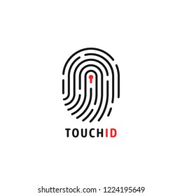 abstract thin line touch id logo. concept of identification sign like fingermark labyrinth. flat outline simple trendy macro silhouette logotype graphic app art design isolated on white background
