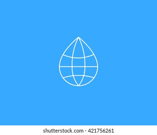 Abstract thin line water drop globe vector logo design template. Aqua planet vector icon  logotype. Liquid earth idea creative sign symbol.