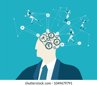 Abstract thinking Businessmen and future nanotechnology controlling thinking process. Making decision, controlling and supporting idea.
