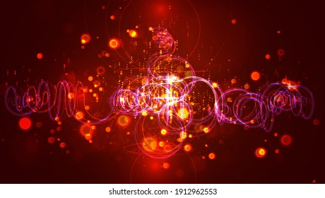 abstract thread with bends and waves flying in space, endless sparks and glow of red and orange colors