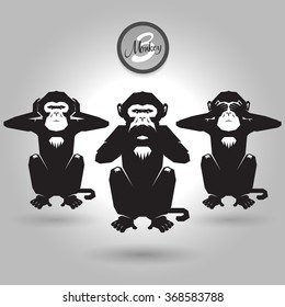 abstract three wise monkeys on gray background