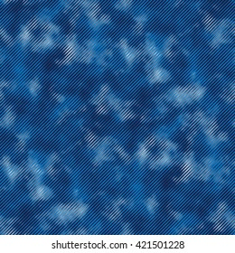 Abstract tie dye effect in diagonal strokes. Seamless pattern.