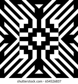 Abstract tile with black white striped diagonal lines and geometric shape in center. Figurative element, futuristic pattern in op art style. Vector background, texture with optical illusion effect.