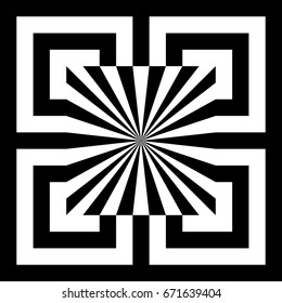 Abstract tile with black white striped squares, straight lines and shape in center. Figurative element, geometric pattern in op art style. Vector background, texture with optical illusion effect.