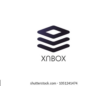 abstract tile stack cube symbol. pile box for corporate business or data database technology logo icon template. Vector illustration.