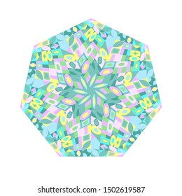 Abstract tiled mosaic heptagon logo template - geometrical heptagonal colorful vector design element
