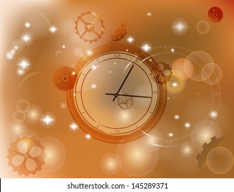 Abstract time background with clock. Able to edit. Vector