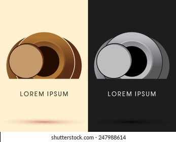 Abstract the tomb of Jesus, stone cave , designed using brown geometric shape, cartoon ,logo, symbol, icon, graphic, vector.