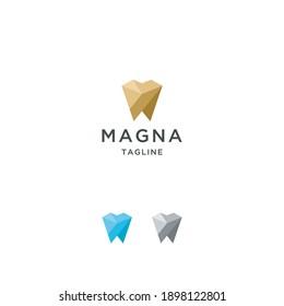 Abstract tooth dental logo icon design template premium vector