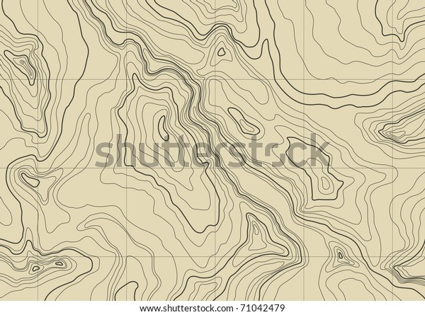 Abstract Topographic Map Brown Colors Stock Vector (Royalty