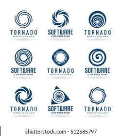 Abstract tornado symbols and spiral logo design elements (2)