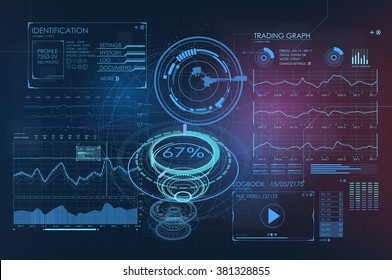 Abstract trade commerce HUD background. infographic elements. futuristic user interface. Vector science Polygonal background. Futuristic HUD background. Vector science background.
