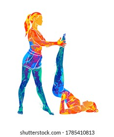 Abstract trainer helps a young woman to do yoga or Pilates, does exercises from splash of watercolors. Vector illustration of paints