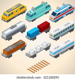 Abstract Trains. Isometric Vector Illustration Include: Locomotive, Oil Tank, Refrigerated Van, Freight Flat Wagon, Boxcar.