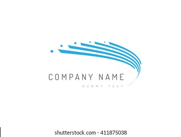 Abstract trandy curve of in swoosh stylise, vector and logo design