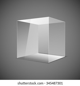 Abstract transparent box on grey background. EPS 10. art