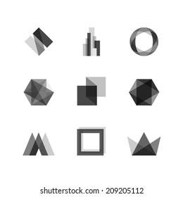 Abstract transparent design elements