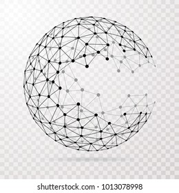 abstract transparent wireframe triangulated broken sphere, low poly connection symbol, vector illustration