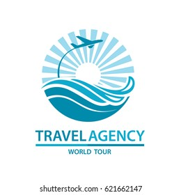 Abstract travel logo with aircraft and ocean. Vector illustration