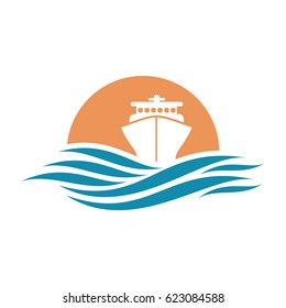 Abstract travel logo with ship and ocean.  Ship icon. Cruise, tour, delivery concept, Marine boat. Transportation sign. Vector image.