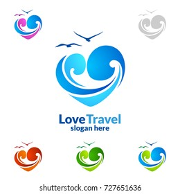 Abstract Travel and Tourism Logo with Love, Sea,and Beach shape in stylish Colors of Hotel and vacation   Isolated on white background vector illustration