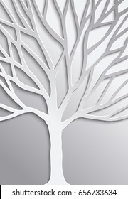 Abstract tree in 3d paper cut style, concept design for environment care or nature help project. EPS10 vector.