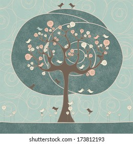 Abstract tree with birds and roses on blue background. Vector illustration