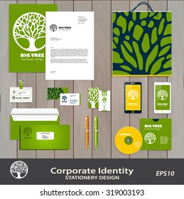 Abstract Tree Business sign & corporate identity set vector template. Brand visual concept  for landscape design / architecture, natural organic product line labeling, recycle, garden. Editable.