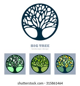 Abstract Tree Business sign vector template. Icon set  & corporate identity template for landscape design / architecture, real estate, natural organic product line labeling, recycle, garden. Editable