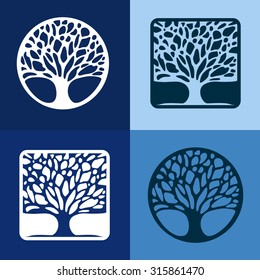 Abstract Tree business sign vector template. Vector icon & corporate identity template for landscape design / architecture, natural organic product line labeling, recycle, garden. Editable.