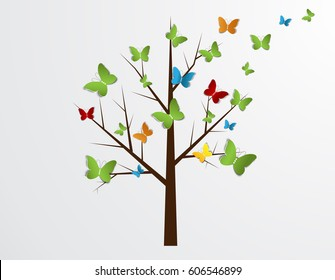 Abstract tree with butterflies for design.