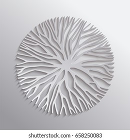 Abstract tree circle shape illustration, 3d paper cut out with branches or roots for concept design, creative nature art. EPS10 vector.