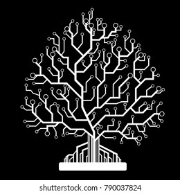 Abstract tree, circuit board,on a black background vector illustration, eps  10