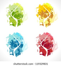 Abstract tree. Color Vector Illustration.