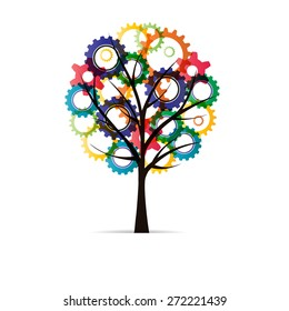 Abstract tree with colorful gear on with background